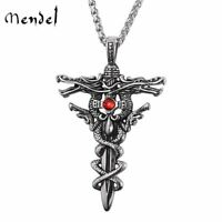 MENDEL Mens Gothic Large Dragon Sword Cross CZ Pendant Necklace Stainless Steel