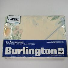 Vintage Burlington CARESS Beige Flower Pattern Twin Fitted Sheet New Old Stock