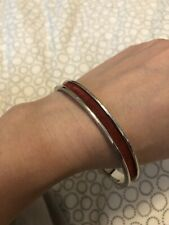 Pink Zebra Bracelet; Silver Tone W Red Leather Detail