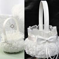 White Lovely Wedding Ceremony Party Satin Bowknot Rose Flower Girl Basket