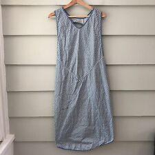 Vintage OSFM Pinafore Style Slip On Apron Dress Blue Floral Print