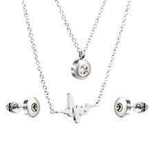 Stainless Steel fashion Jewelry Set,Silvertone Lifeline Necklace & Stud Earrings