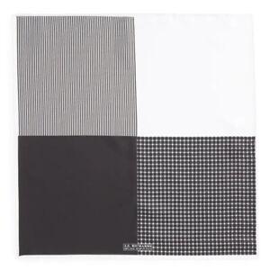 "J. Z. RICHARDS SILK Black And White Handkerchief Pocket Square 16.5"" Square"