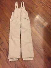 Vtg 80s 90s SERAC Tan Women's Snow Full Zip SKI Suit Bib Lined snowsuit pants M