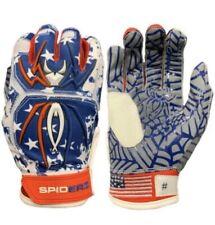 New listing Spiderz Adult HYBRID Batting Gloves Pair USA Flag NEW Sz L Web Palm