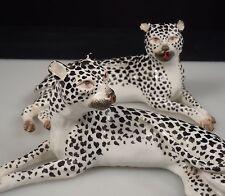 Vintage Pair French Porcelain Snow Leopard Figurines
