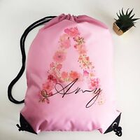Personalised Floral Drawstring Pink PE Bag Kids Swimming Gym Kit School