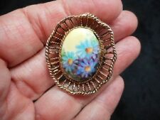 Authentic Vintage 1960's Antique Bronze Floral Decal Pastel Tone Brooch/Pin