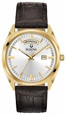 Authentic Bulova 97C106 Men's Classic Silver Tone Dial Brown Leather Strap Watch