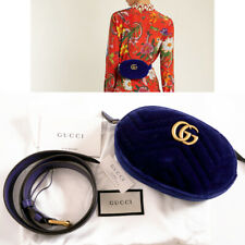 sz 75/30 NEW $980 GUCCI Blue Velvet Matelassé GG MARMONT LOGO Small BELT BAG NWT