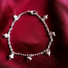 Silver Plated Puffed Heart Charm Bracelet