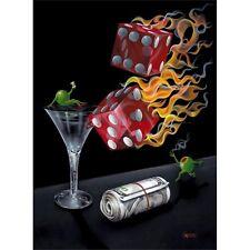"**Michael Godard-""SHOOT THE WAD""-Gambling-Las Vegas-Craps-Dice-Art-SHOW SIGNED**"