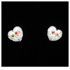 Heart Love 18k White GP Stud Stick Earrings Multicolor CZ Silver Tone 3D Jewelr