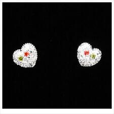 Heart Love 18k White GP Stud Stick Earrings Multicolor CZ Silver Tone 3D Jewelr