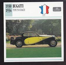 1930-1934 Bugatti Type 50 Coach Car Spec Sheet Photo Info CARD 1931 1932 1933