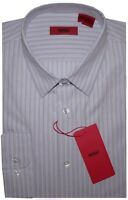 NEW HUGO BOSS RED LABEL SFT LILAC & WHITE STRIPE SLIM FIT DRESS SHIRT 16 32/33