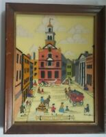 Vintage Boston Old State House Needlepoint Framed Art - Cross Stitch