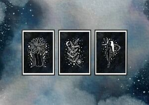 SET OF 3 X A4 ART PRINTS, ILLUSTRATION, PLANT, TAROT CARD, MOON, WITCH, FAIRY