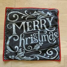 "Pottery Barn Holiday MERRY CHRISTMAS Pillow Cover 20X20"" Excellent"
