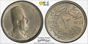EGYPT , 2 MILLIEMES KING FUAD 1924 PCGS MS 63 ( ST1B ) , RARE