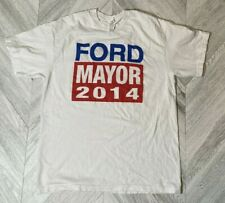 Vintage 2014 Rob Ford Mayor Election T-Shirt -White Mens Large Pre-owned Toronto