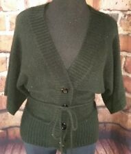 Black sweater size Large dolman sleeves tie waist button front cardigan shrug