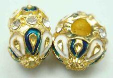 Clover Faberge Egg Bead Drip Gum Lime Clear Crystal Fit sterling 925 Bracelet vb