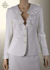 TAHARI Women Skirt Suit SZE 8 IVORY OFF-WHITE Two-Piece CASCADE Dressy $280 LBCU