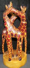 "Triple Giraffe Figurine ~ Hand Carved - Kenya Africa 12"" x 5"" Ao4022312"