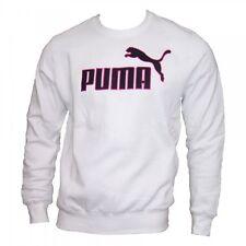 Puma Pullover Fleece Sweatshirt Sweater Herren Baumwolle weiß Rundhals