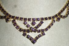 Gorgeous Gold Tone Amethyst Color Rhinestones Vintage Necklace 15""