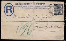 REgistered envelope to Frankfurt with sg 169  5d indigo perfin CANCLD JA & Co