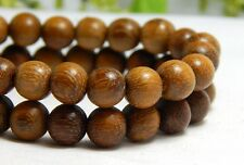 50 8mm Natural Robles Wood Beads Wooden Round Nature Brown DIY Craft D-P01