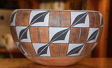 SUPERB VINTAGE LARGE BLACK AN WHITE HANDCOILED ACOMA PUEBLO OLLA!! FREE SHIPPING
