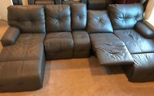 Palliser Mystique Motion Home Theater Sectional Sofa (Gray leather)