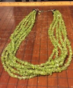 ❤️SILPADA Sterling Silver 925 Six Strand Lime Green Peridot Chip Necklace N1402