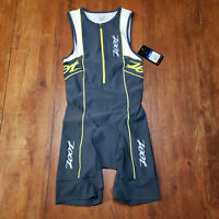 ZOOT Mens Small Tri Suit Sleeveless Black White Yellow Triathlon Swim Cycling S