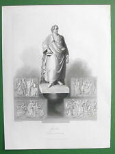 GOETHE'S Monument Statue in Frankfurt Germany - 1860s Antique Print