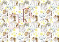 Magic unicorn in stars clouds ,100% cotton fabric width 160cm kids printed