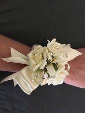 1x Ivory Foam Rose Wedding Bridal Flower Wrist Corsage With Bling