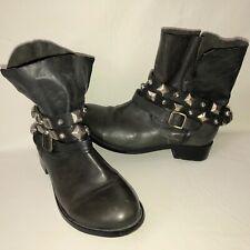 Steven by Steve Madden Caris Women's 9.5M Leather Studded Strap Moto Ankle Boot
