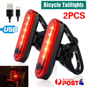 2pcs USB Rechargeable Bike Bicycle Cycling 4Modes LED Front Rear Tail Light Lamp