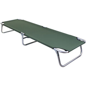 HEAVY DUTY PORTABLE FOLDING SINGLE CAMPING CAMP BED OUTDOOR GO FLAT RELAXER