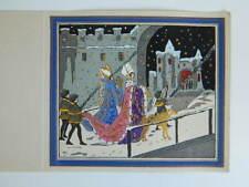 carte Voeux nuit de Noël Gravure ancienne coloriée au pochoir c.1930