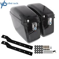 Black Motorcycle Hard Trunk Saddle Bags + Mounting bracket for Honda Yamaha US