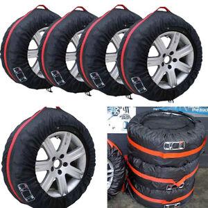 "4 Pcs Portable Nylon Car 13""-19"" Wheel Tire Protection Cover Carry Storage Bag"