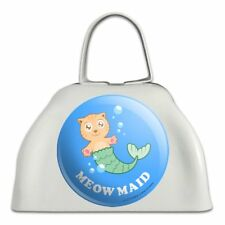 Meowmaid Cat Mermaid Funny Humor White Metal Cowbell Cow Bell Instrument