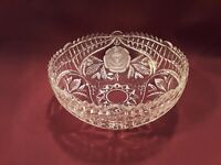 "Vintage Sawtooth Edge Cut Glass 8"" Bowl With Etched Roses"