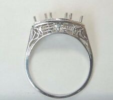 Antique Deco Vintage Mounting Setting 18K White Gold Hold 5 MM 2-4MM Rg Sz 7.75