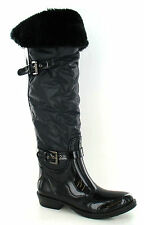 X1149 Ladies Spot On Black Textile/Rubber Studded Wellington Boots Great Price!